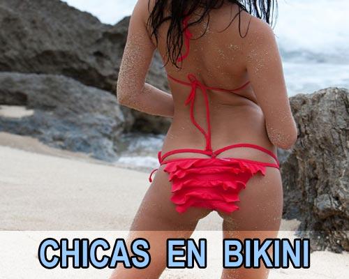 Vecinitas cachondas en bikini con volantes exhibiendose en la playa