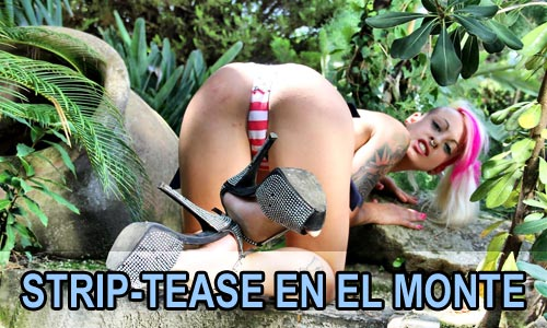Jesyka Diamond haciendo un strip-tease en pleno monte