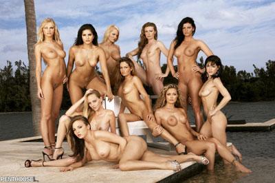10 Penthouse Pets juntas y desnudas en verano